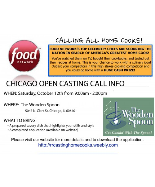 Food Network Casting Call    this Saturday! | The Wooden Spoon
